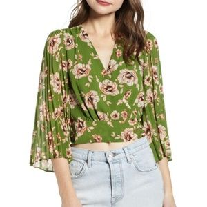 Astr Green Floral Pleated Sleeve Wrap Blouse